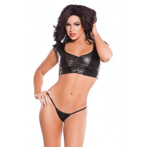 Wet-Look & Faux Leather Top And G-String Set