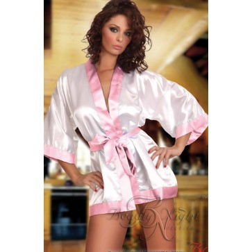 Beauty Night Maggie Dressing Gown - White & Pink