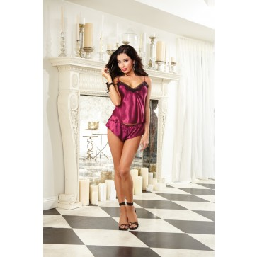 Dreamgirl Satin Charmeuse Camisole with Contrast Lace and Matching Pant