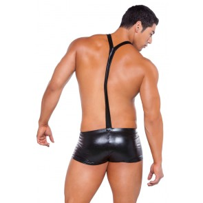 Zeus Wet-Look Suspender Shorts