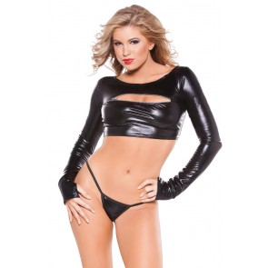 Kitten Wet-Look Zipper Top And G-String Set