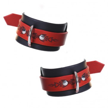House of Eros Red and Black Tribal Hard Wrist Cuffs