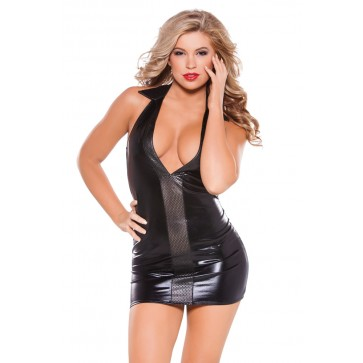Kitten Wet-Look And Faux Leather Dress