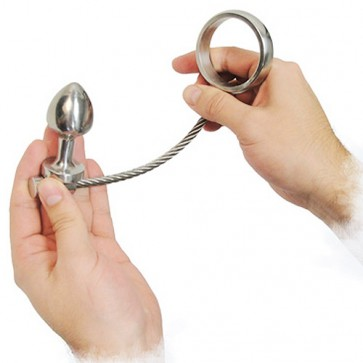 Slide and Ride Steel Cock Ring and Anal Plug