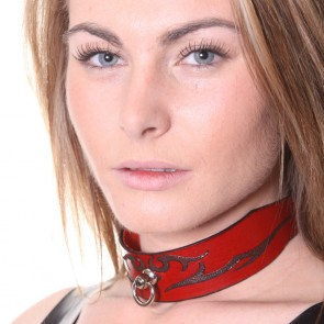 House of Eros Lace-Up Red Leather Tribal Collar Wide