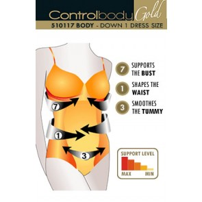 Control Body Gold Strappy Body - Firm Support