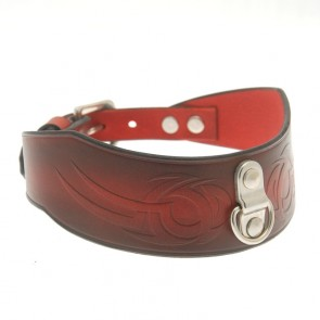 House Of Eros Dark Red Tribal Collar With D-Ring